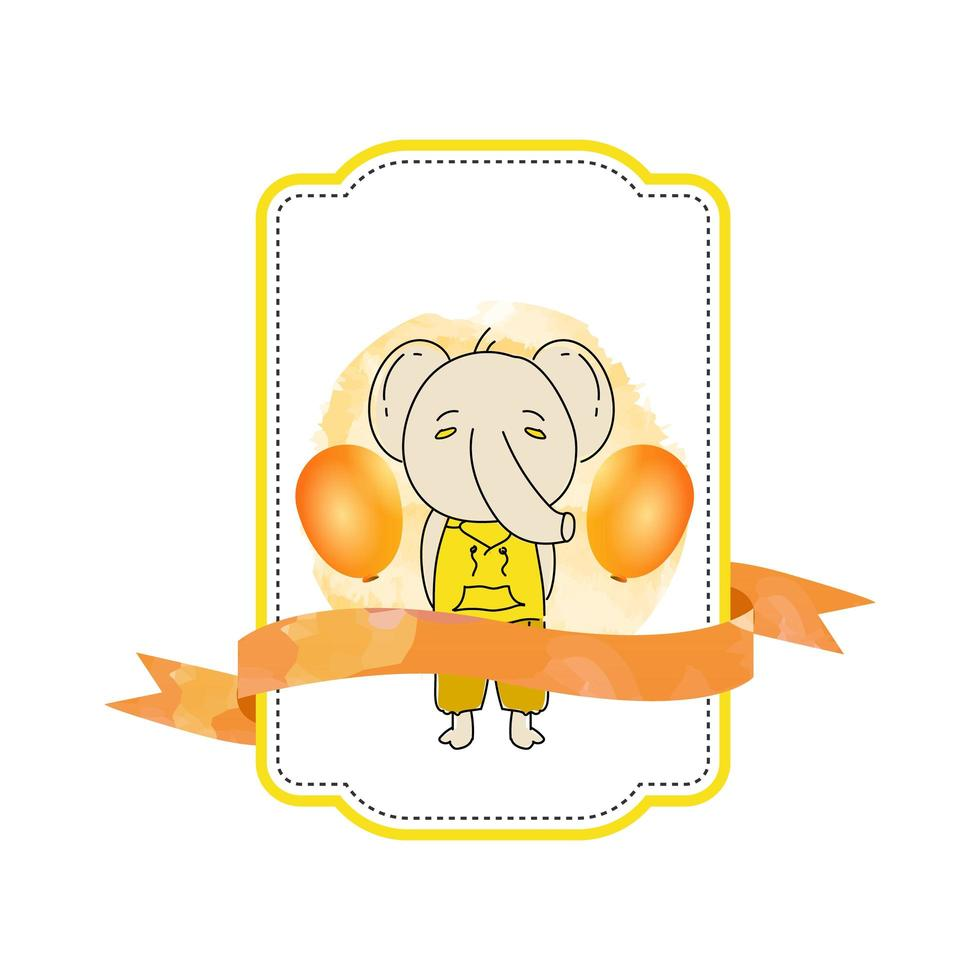 Baby animal elephant label with ribbon vector