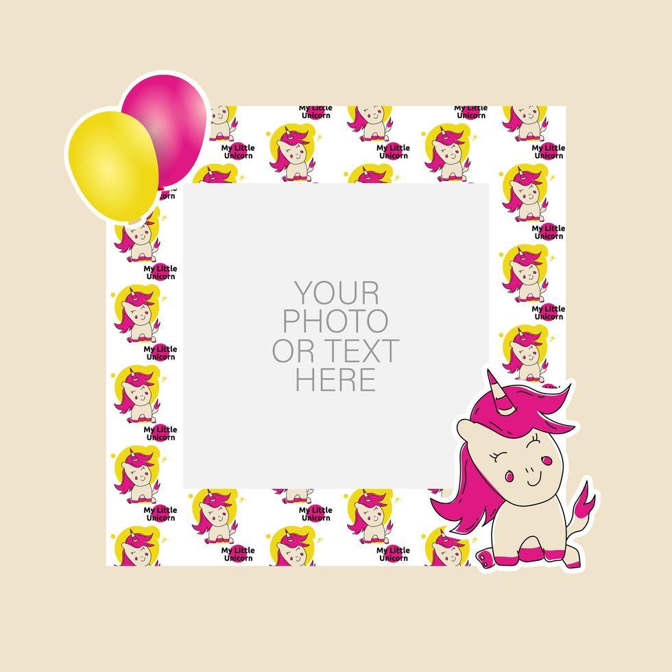 marco de fotos con unicornio de dibujos animados y diseño de globos vector