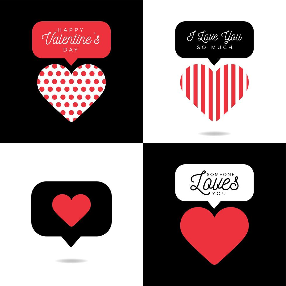 Four lovely card Valentine red heart with inscription set vector