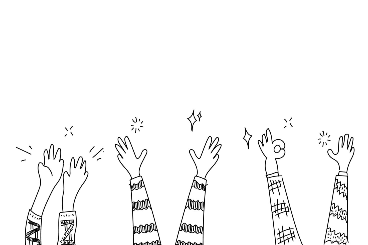 Doodle hands clapping set vector