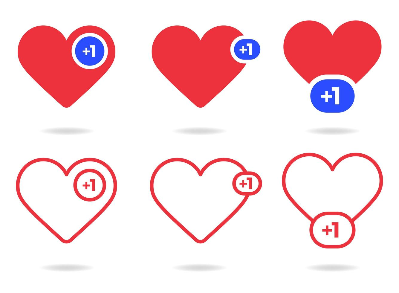 Heart counter set vector