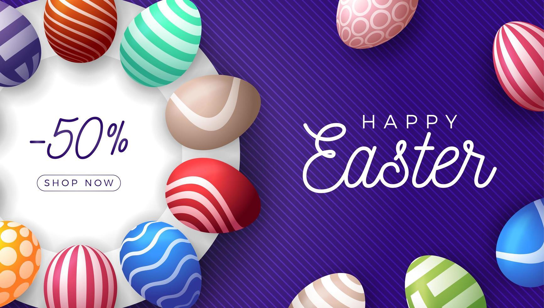 Easter egg horizontal sale banner vector