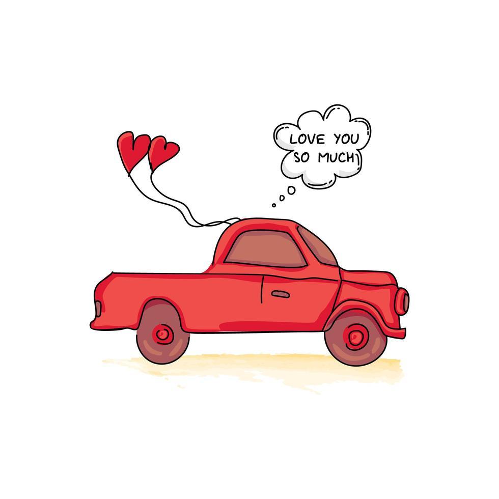 carro camión dibujado a mano con globos en forma de corazón vector