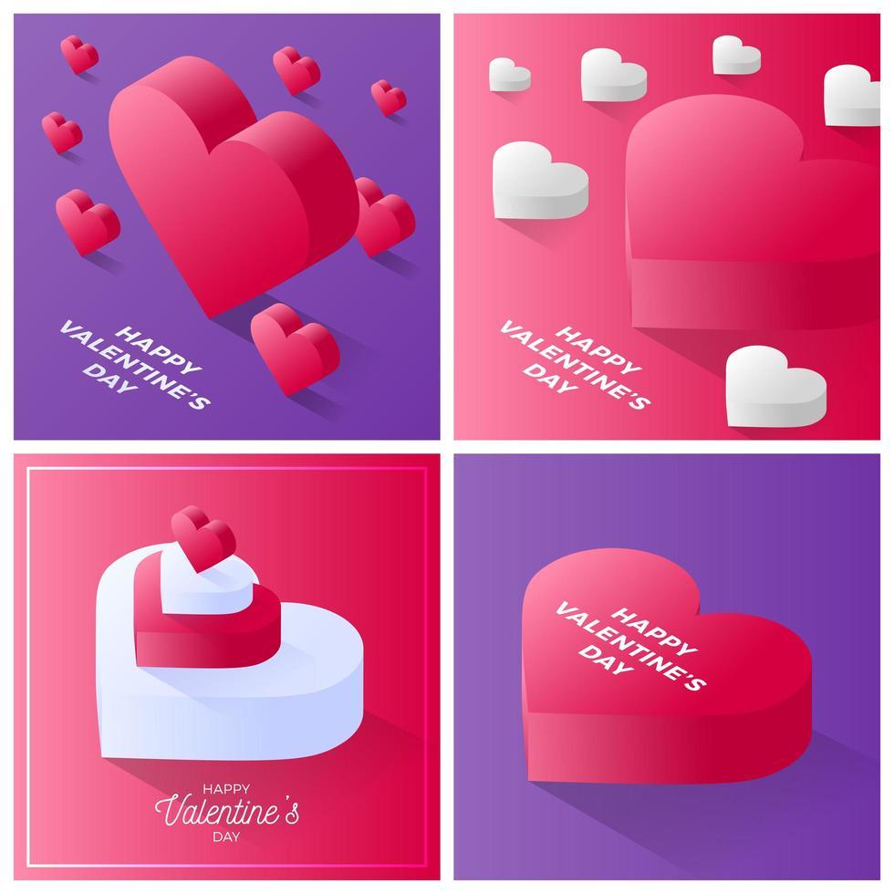 conjunto de tarjetas de san valentín vector