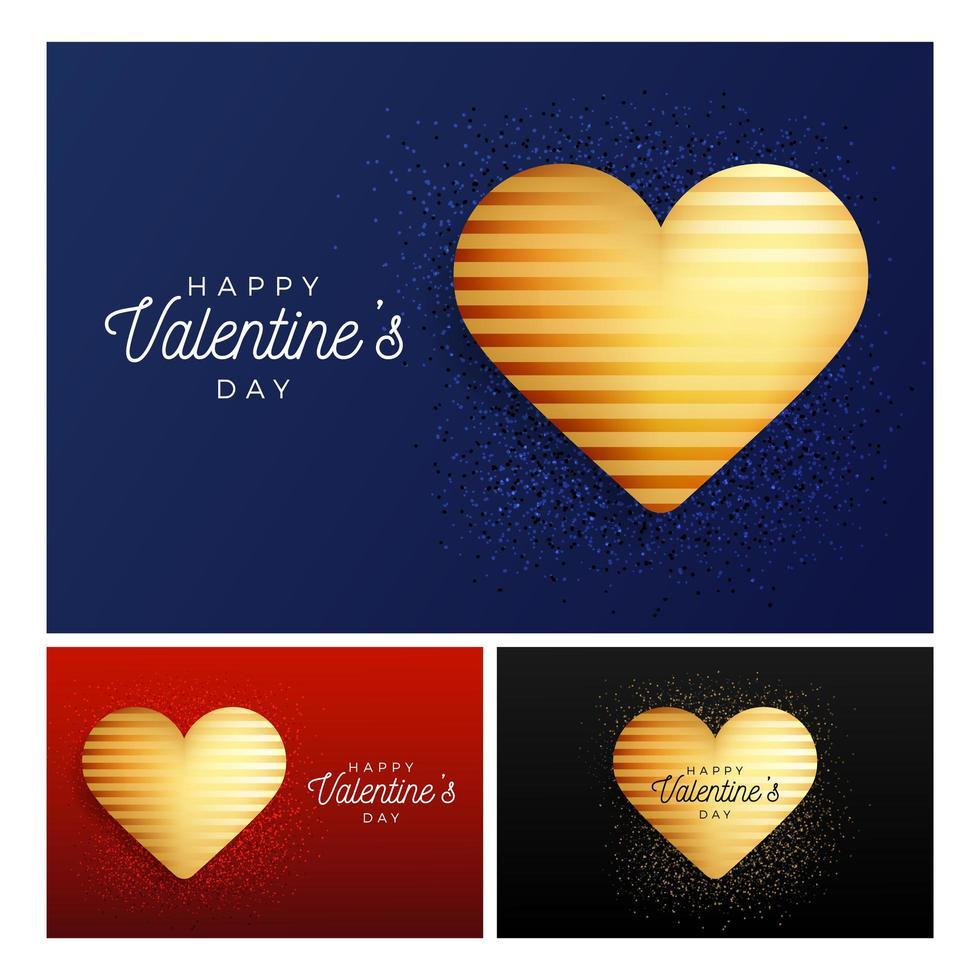 Glitter heart banner set vector