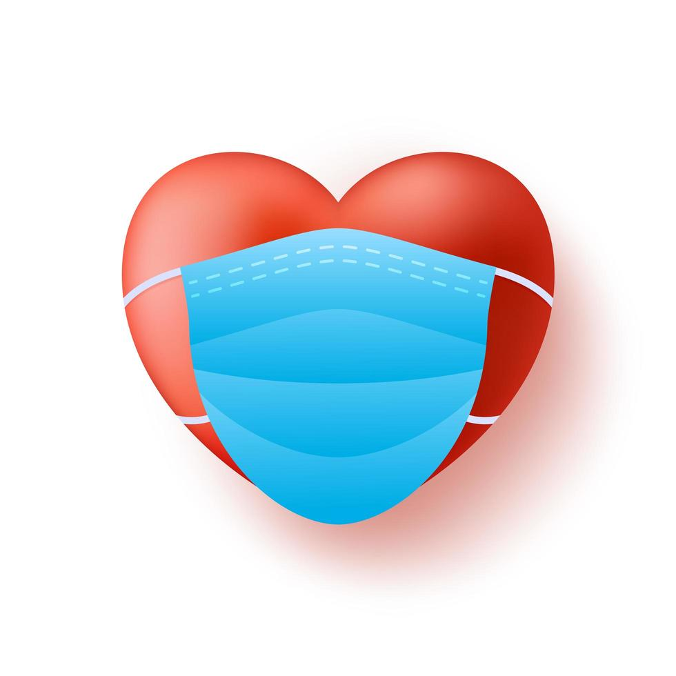Cute realistic red heart in blue medical mask vector