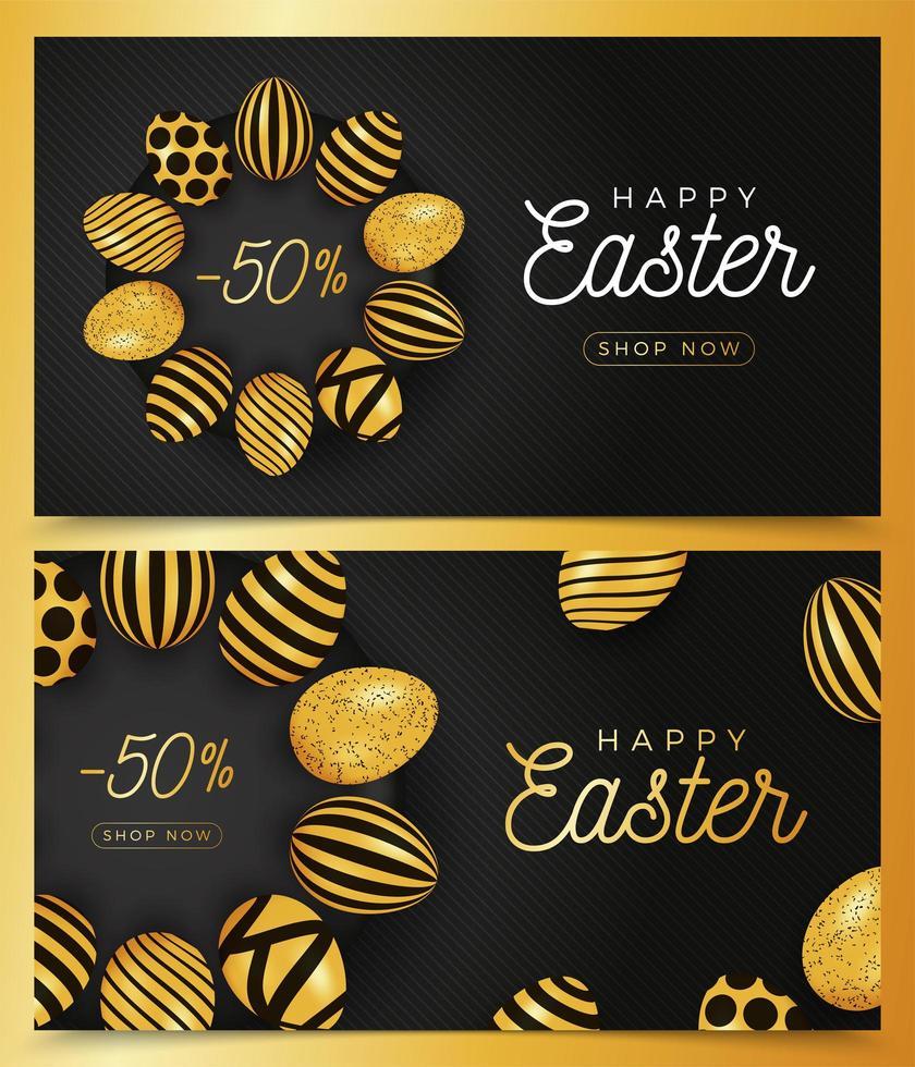 Easter egg horizontal banner set vector