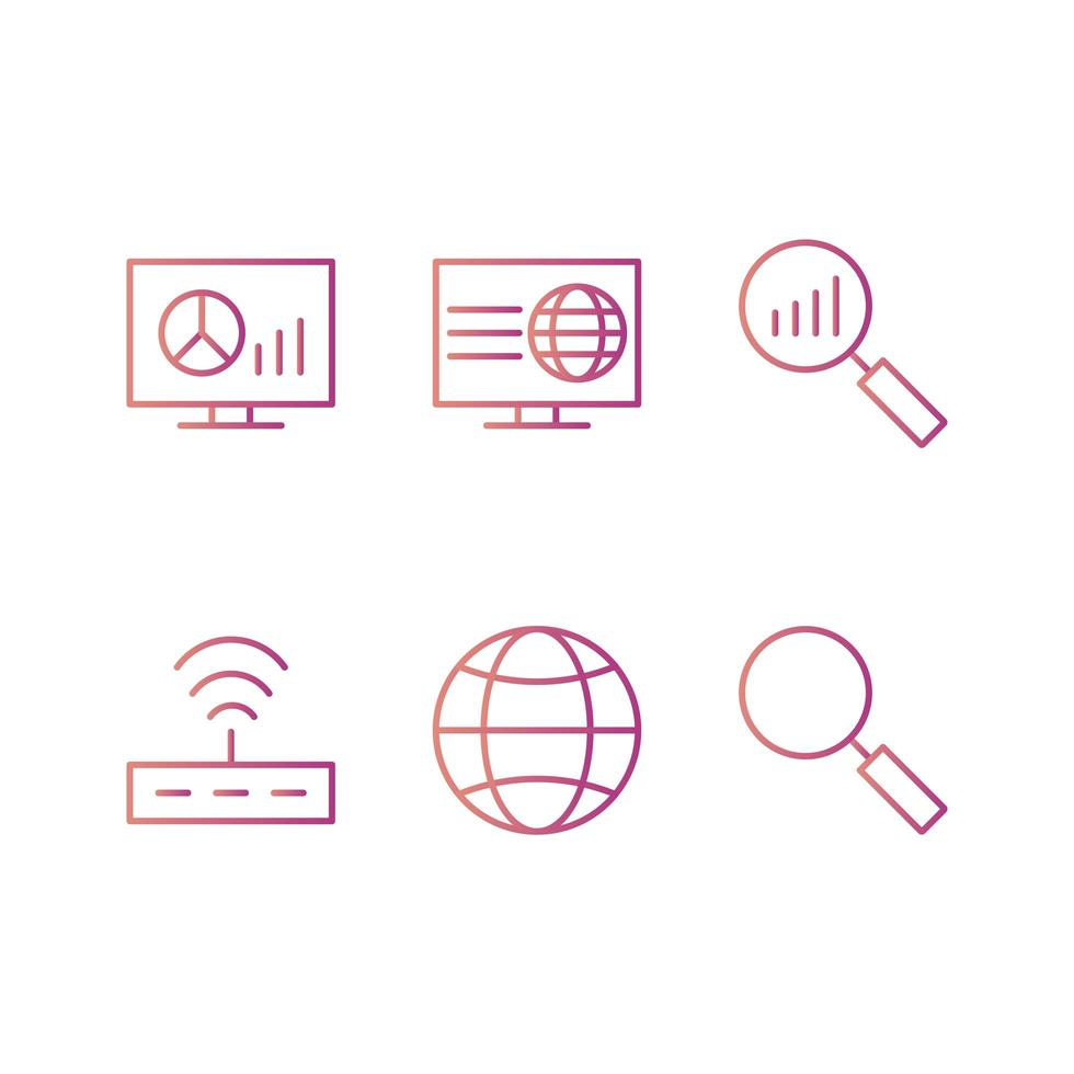Icon Set Of Search Engine Optimization vector