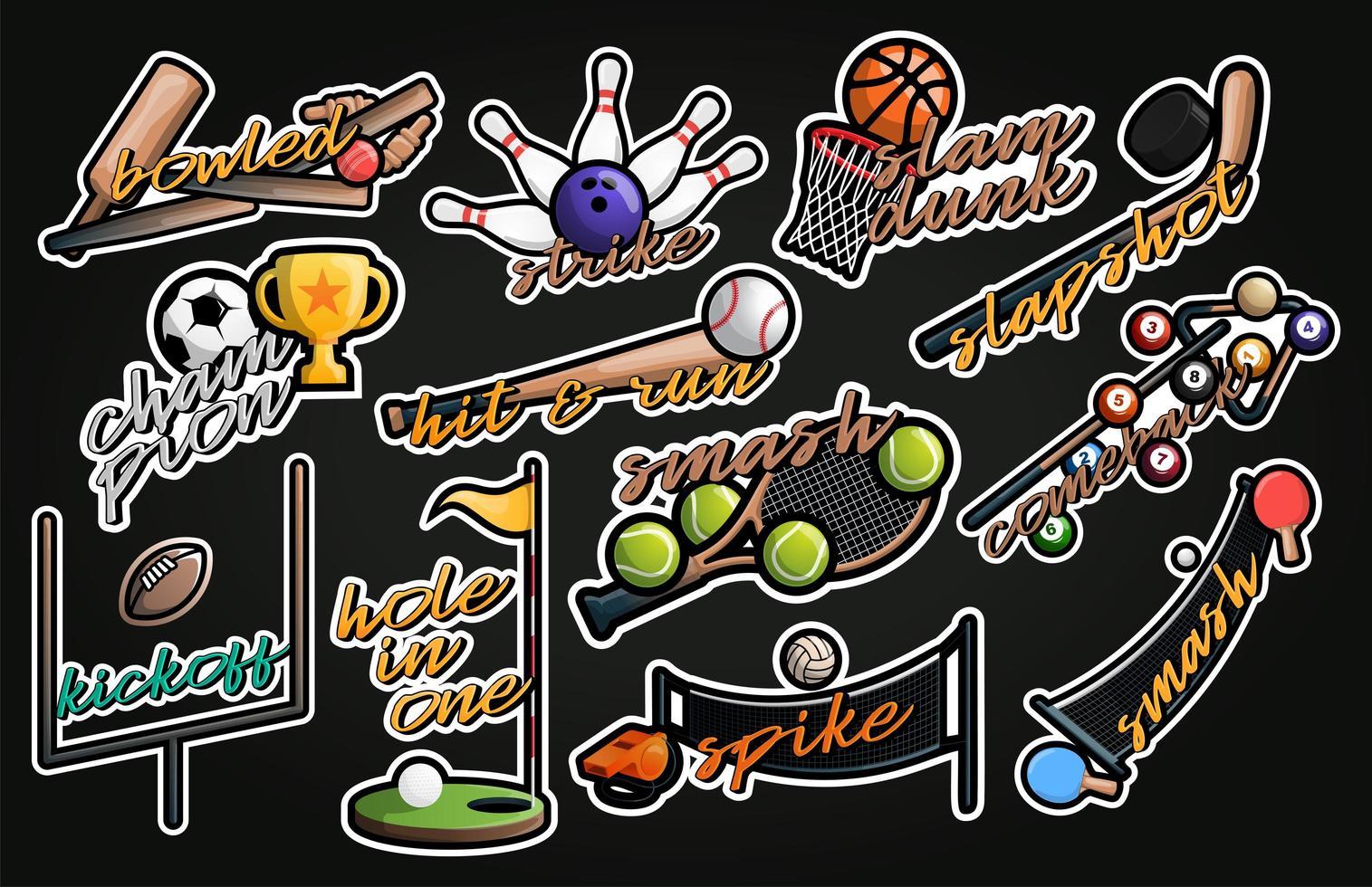 conjunto de pegatinas de vector de deporte