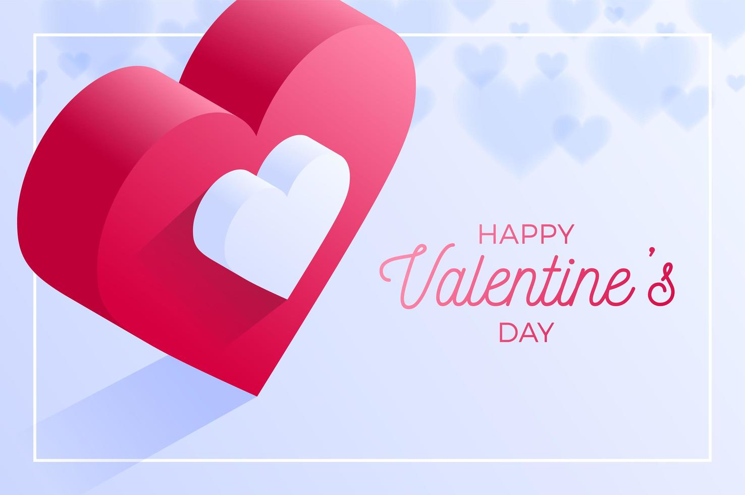 Happy valentine day red love heart poster vector