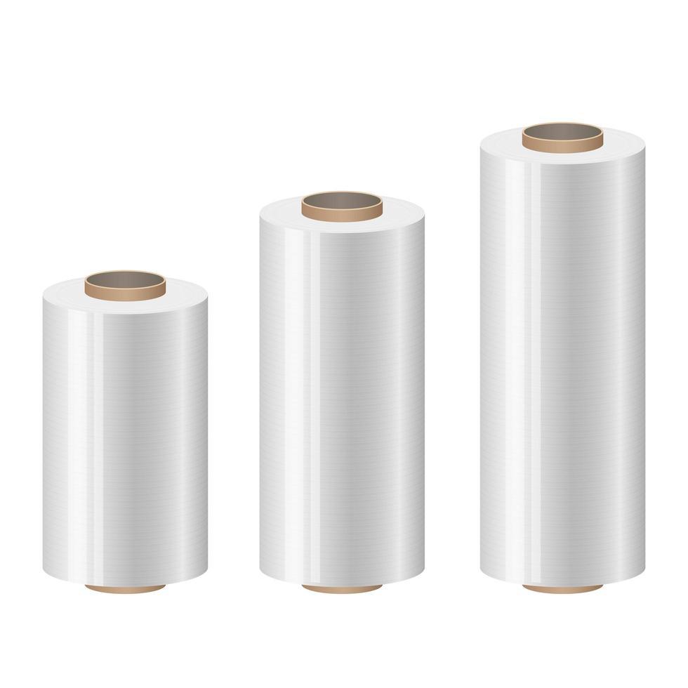 Rollos de envoltura de plástico ilustración de diseño vectorial aislado sobre fondo blanco. vector