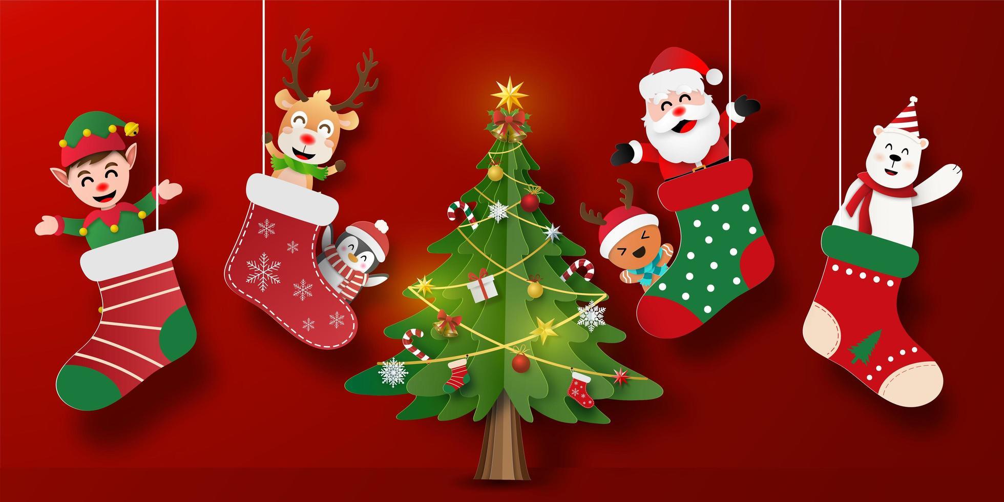 Banner de postal navideña de santa claus y amigos en calcetín de navidad con árbol de navidad vector