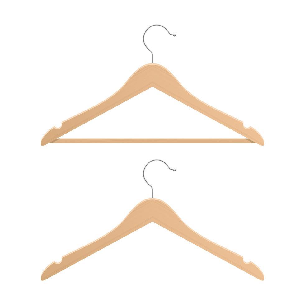 Wooden clothing hanger vector design illustration isolated on white background