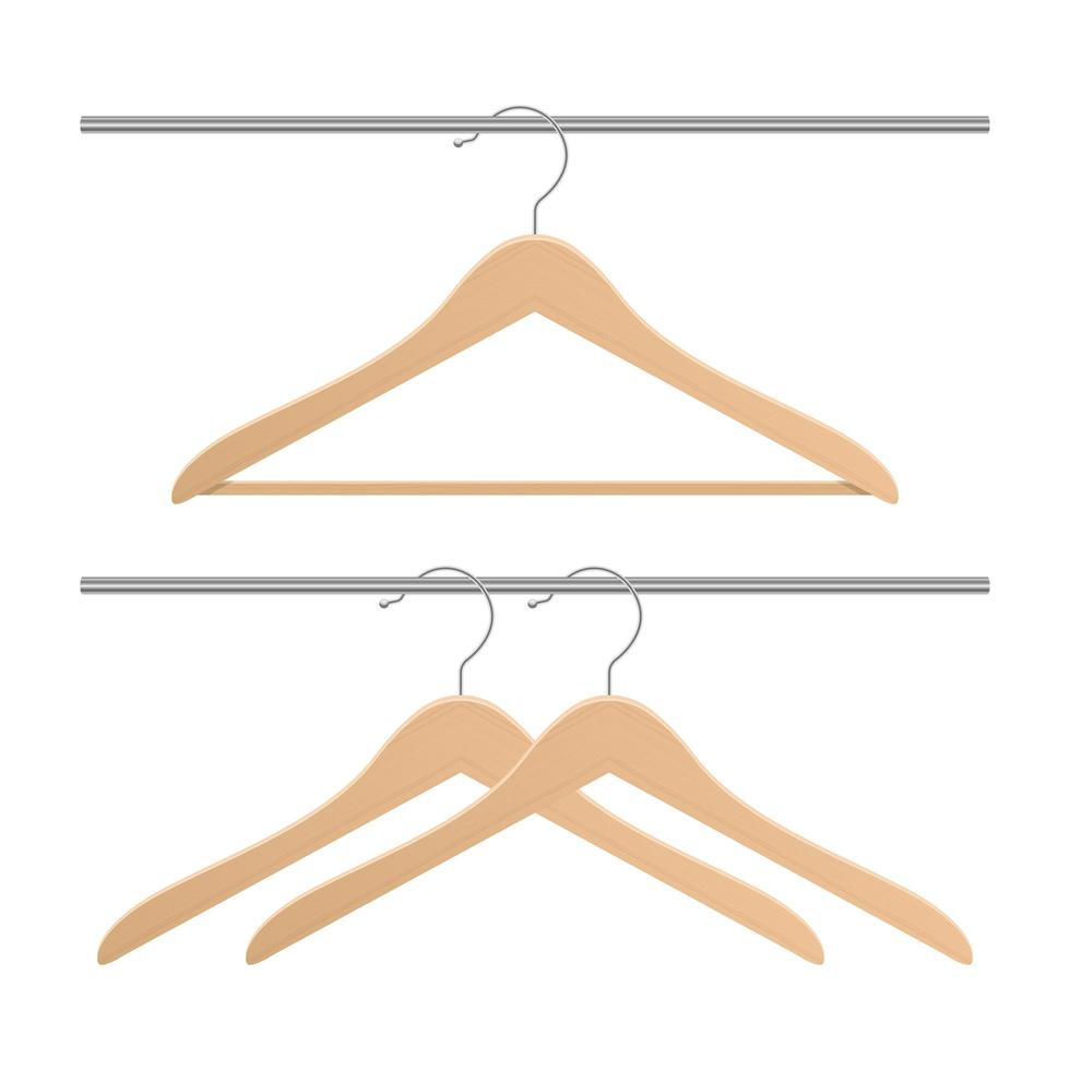 Wooden clothing hanger vector design illustration isolated on white background