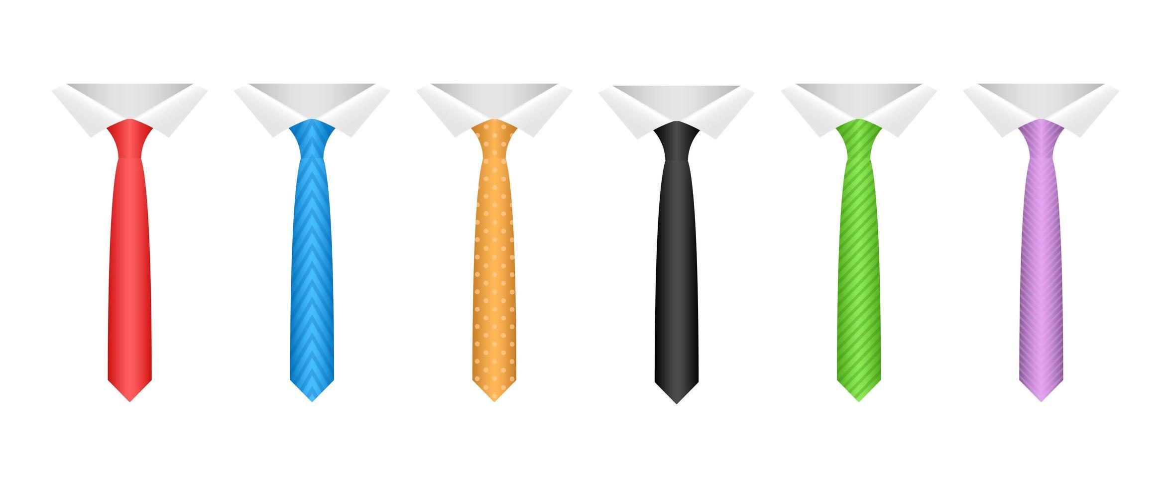 Ilustración de diseño de vector de corbata de cuello aislado sobre fondo blanco