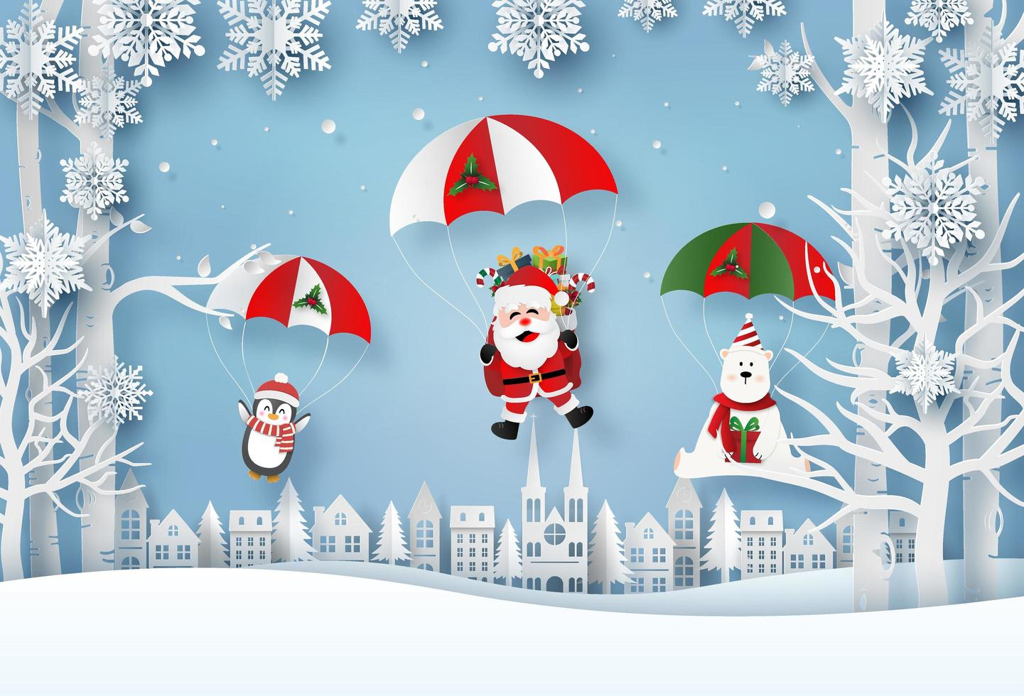 Origami paper art of Santa Claus and Christmas characters parachute jump in the village, Merry Christmas and Happy New Year vector
