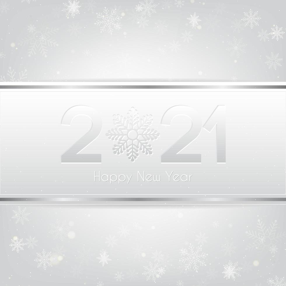 Silver Happy New Year 2021 Background vector