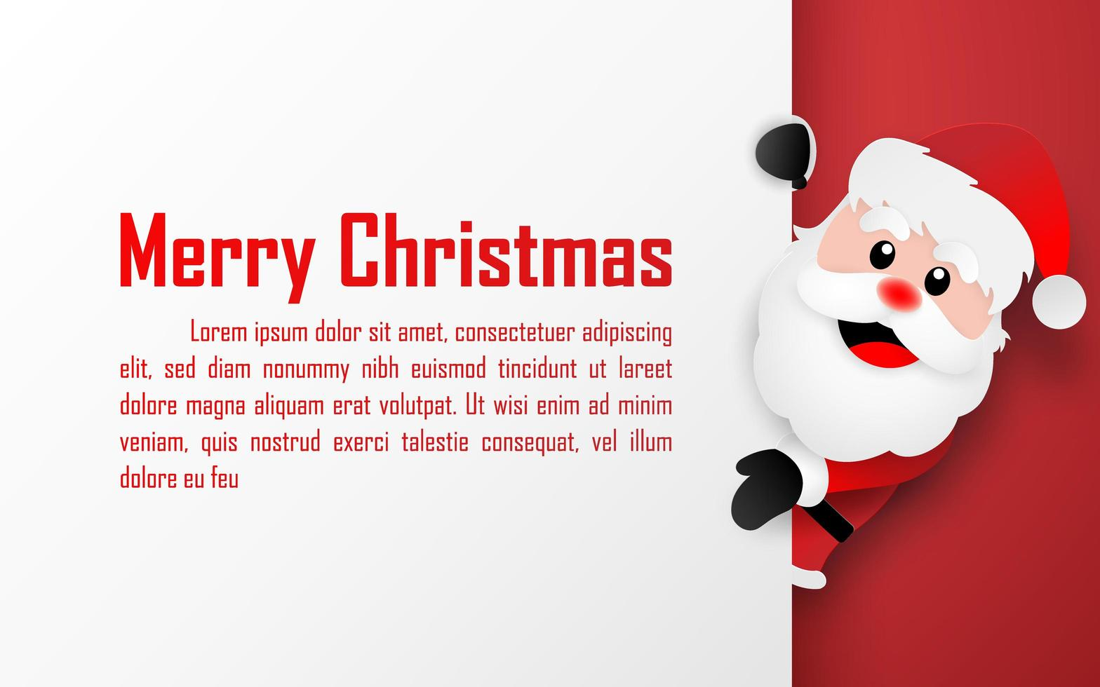 Origami paper art style postcard of Santa Claus with copy space, Merry Christmas and Happy New Year vector