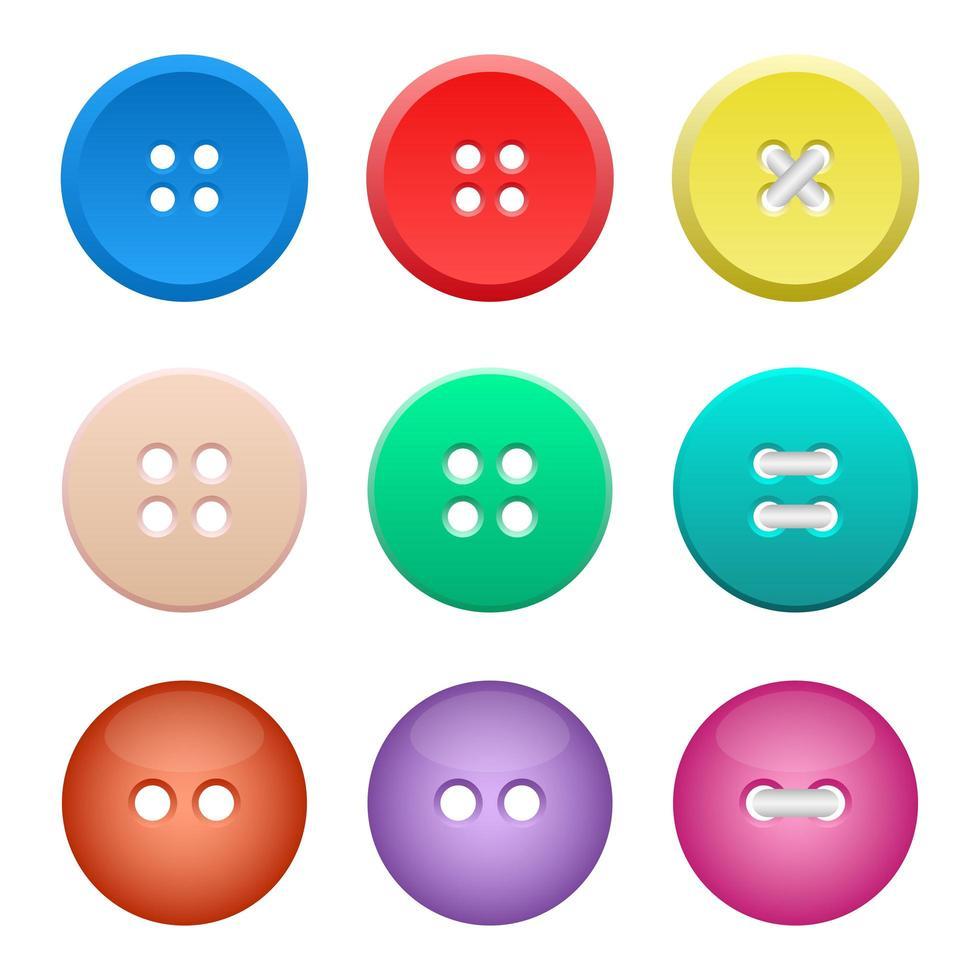 Conjunto de botones de ropa ilustración de diseño vectorial aislado sobre fondo blanco. vector