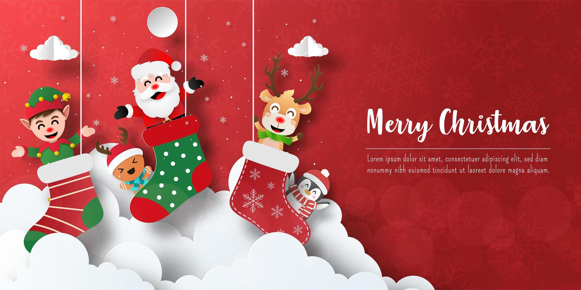 Christmas postcard banner of Santa Claus and friends in Christmas sock vector