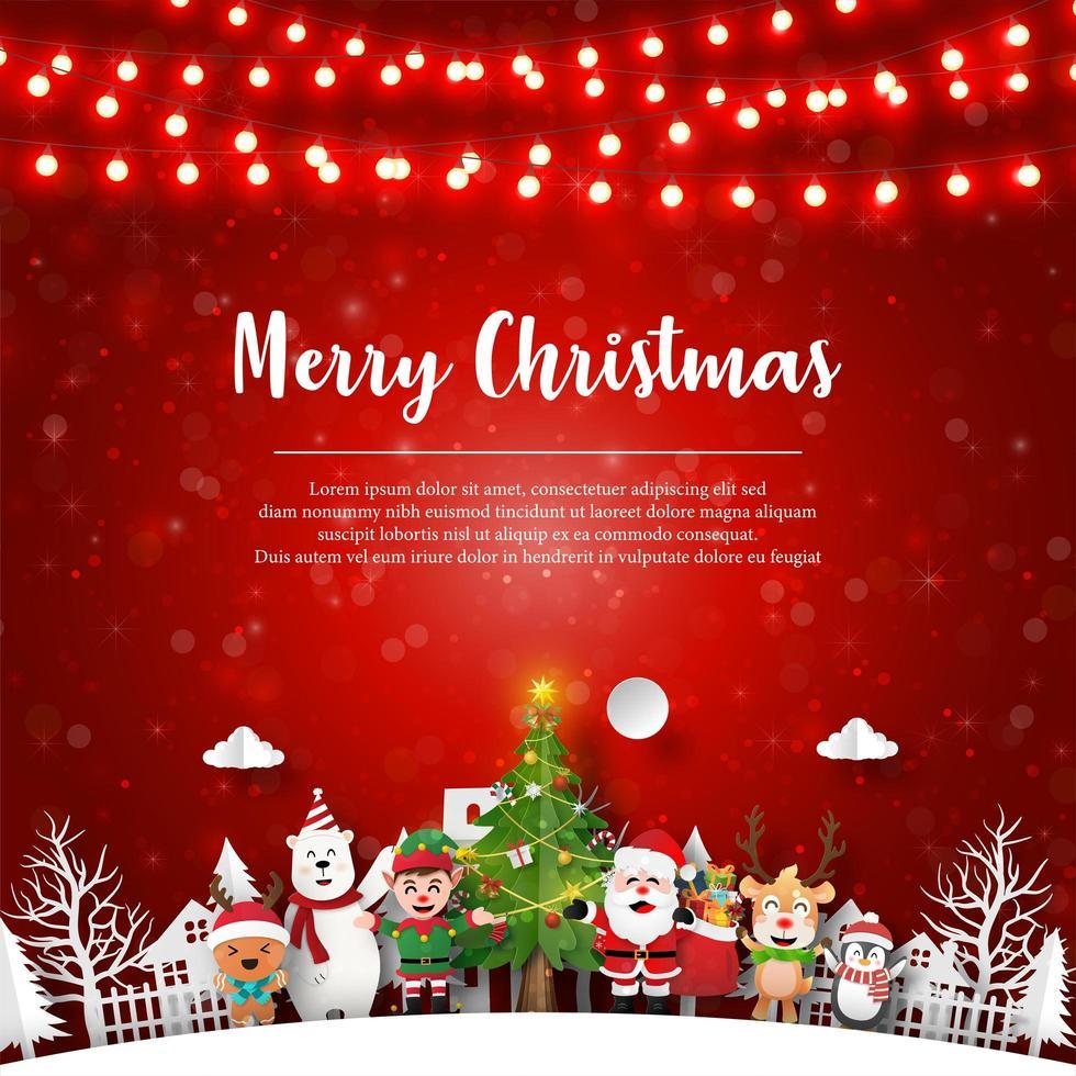 postal navideña de santa claus y amigos en el pueblo vector
