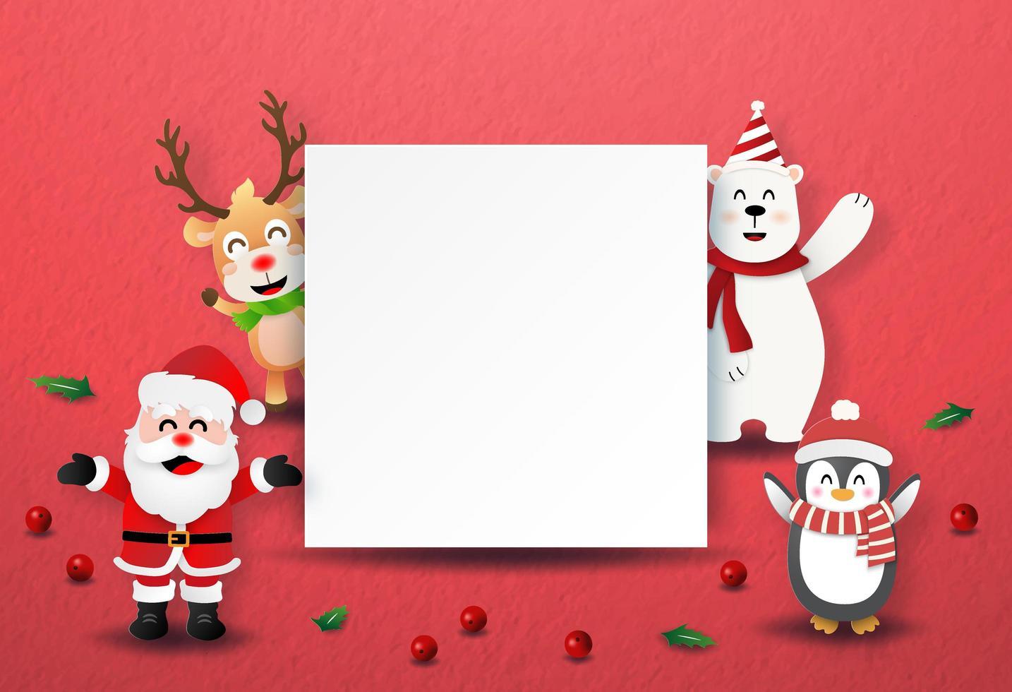 origami paper art style santa claus y personajes navideños con etiqueta en blanco vector