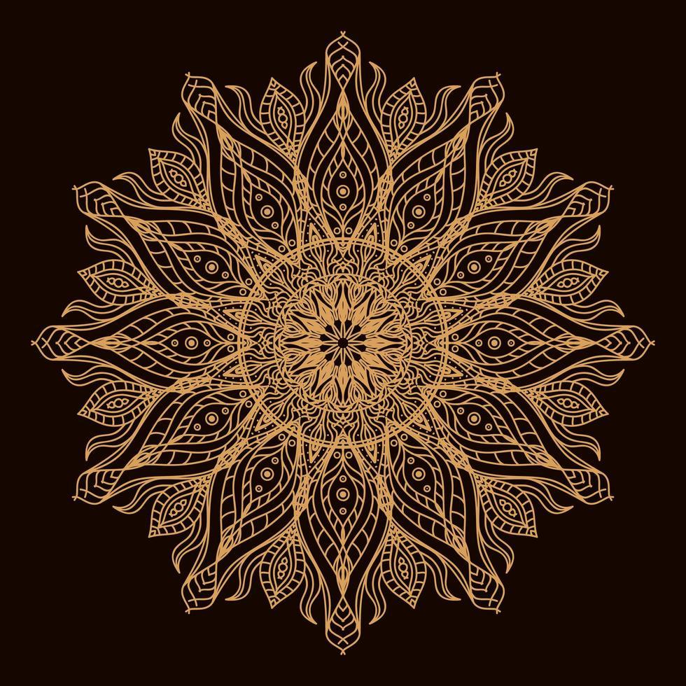 mandala circular de lujo dorado. adorno decorativo en estilo étnico oriental. página de libro para colorear. vector