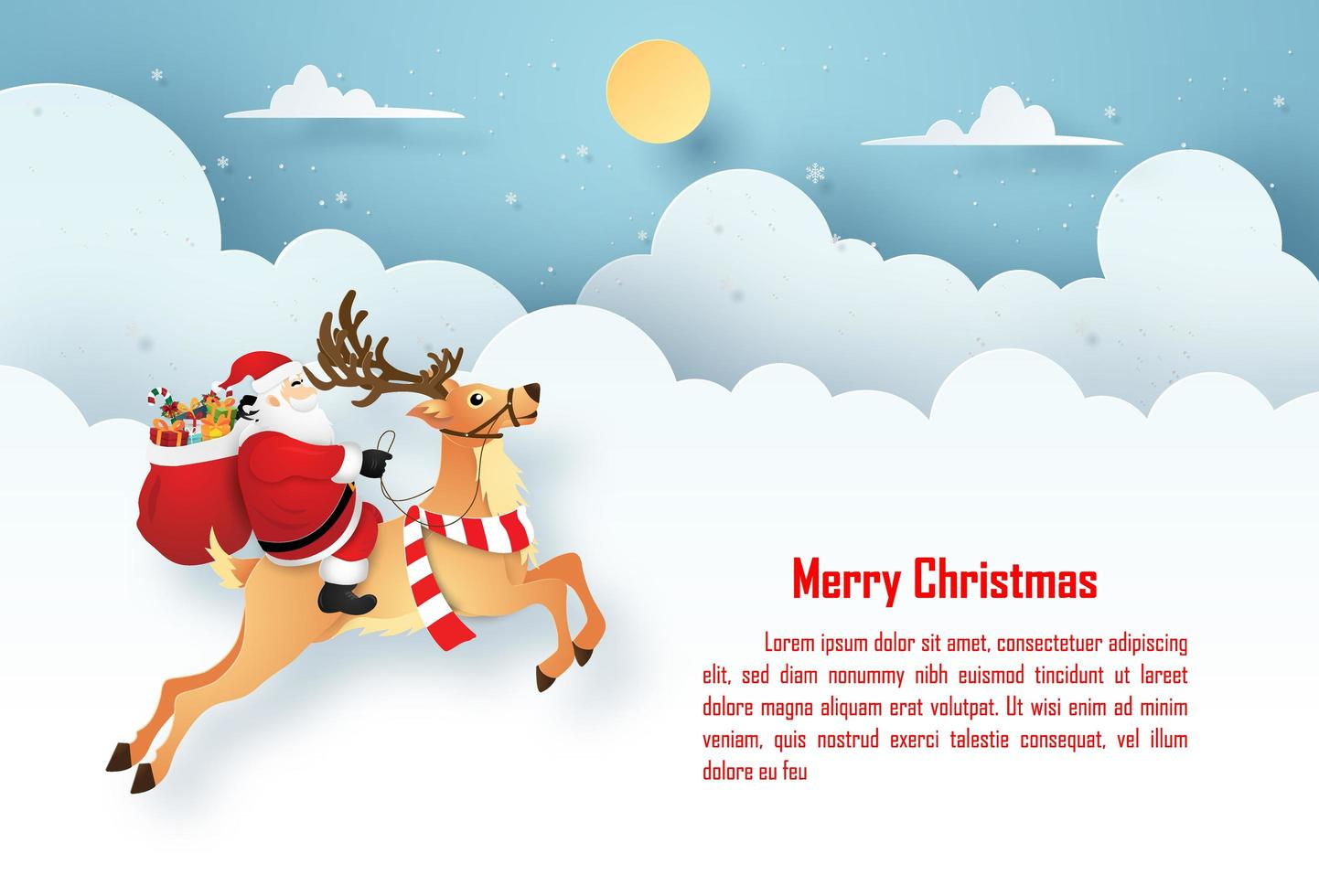 Arte de papel de origami postal navideña de santa claus y renos en el cielo con espacio de copia, feliz navidad y próspero año nuevo vector