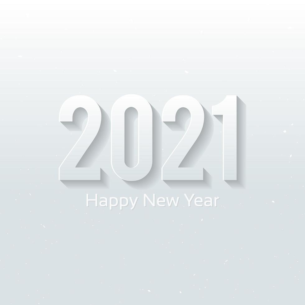 Happy new year 2021, white 3D design vector