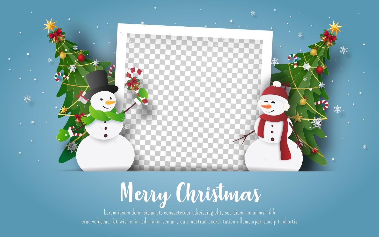 postal de navidad con muñeco de nieve y marco de fotos en blanco vector