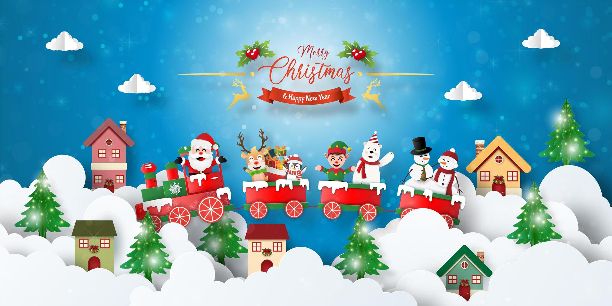 Christmas postcard banner of Christmas train with Santa Claus and friends in town vector