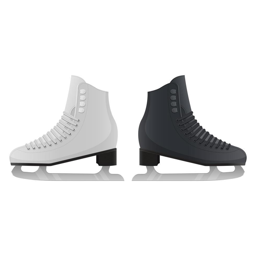 Ilustración de diseño de vector de patines de hielo aislado sobre fondo blanco