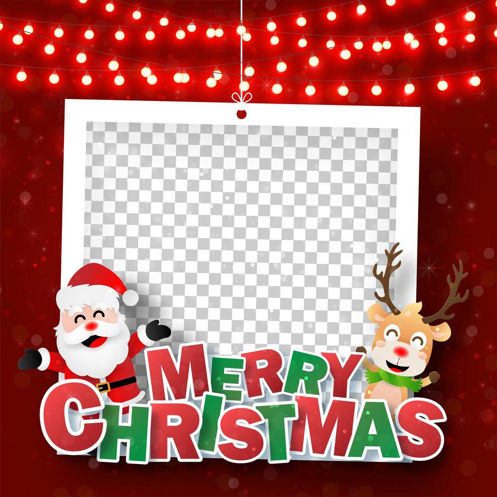 marco de fotos de navidad con santa claus y renos vector
