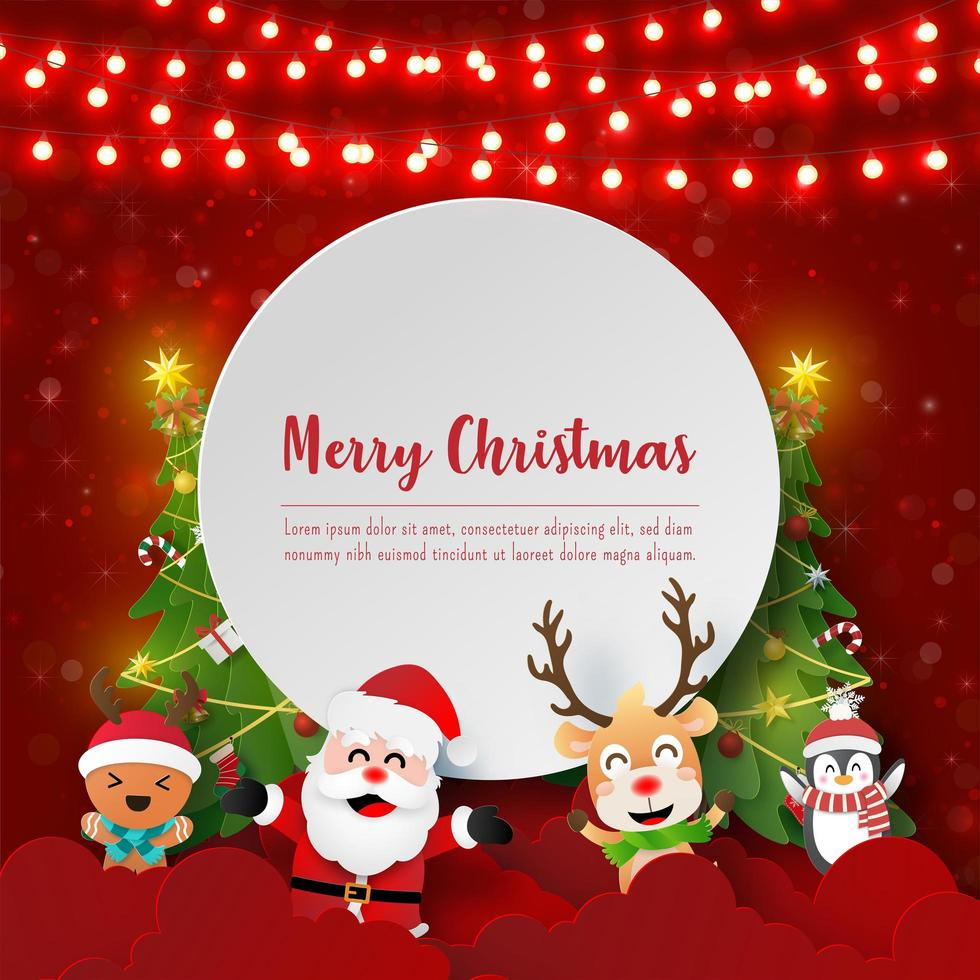Paper art Santa Claus and friends with copy space, Merry Christmas and Happy New Year vector