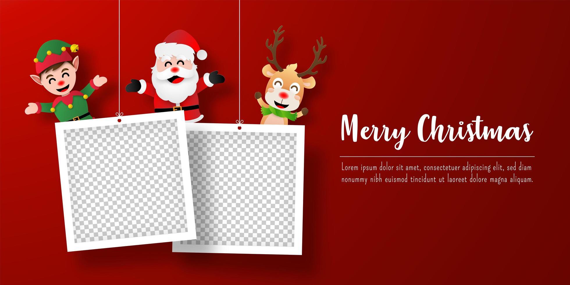 banner de postal navideña de santa claus y amigos con marcos de fotos vector