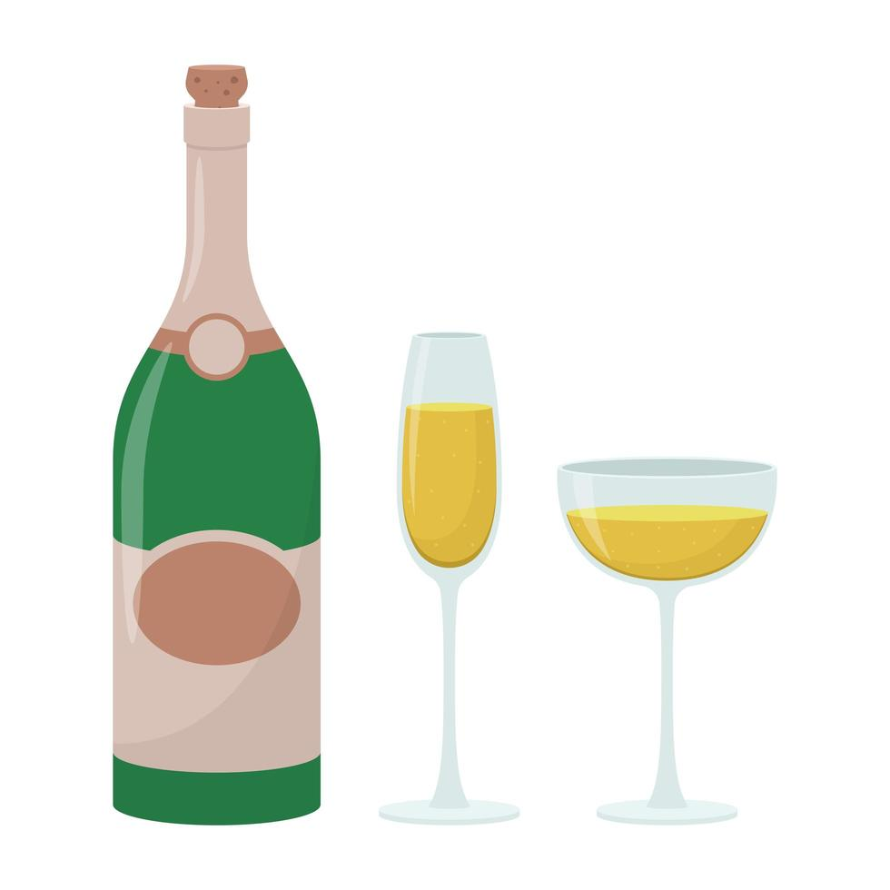Champagne bottle vector design illustration isolated on white background