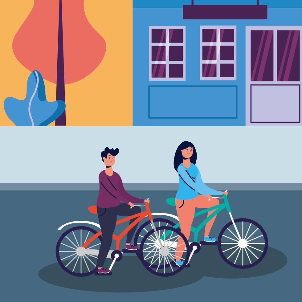 mujer y hombre, andar en bicicleta, vector, diseño vector
