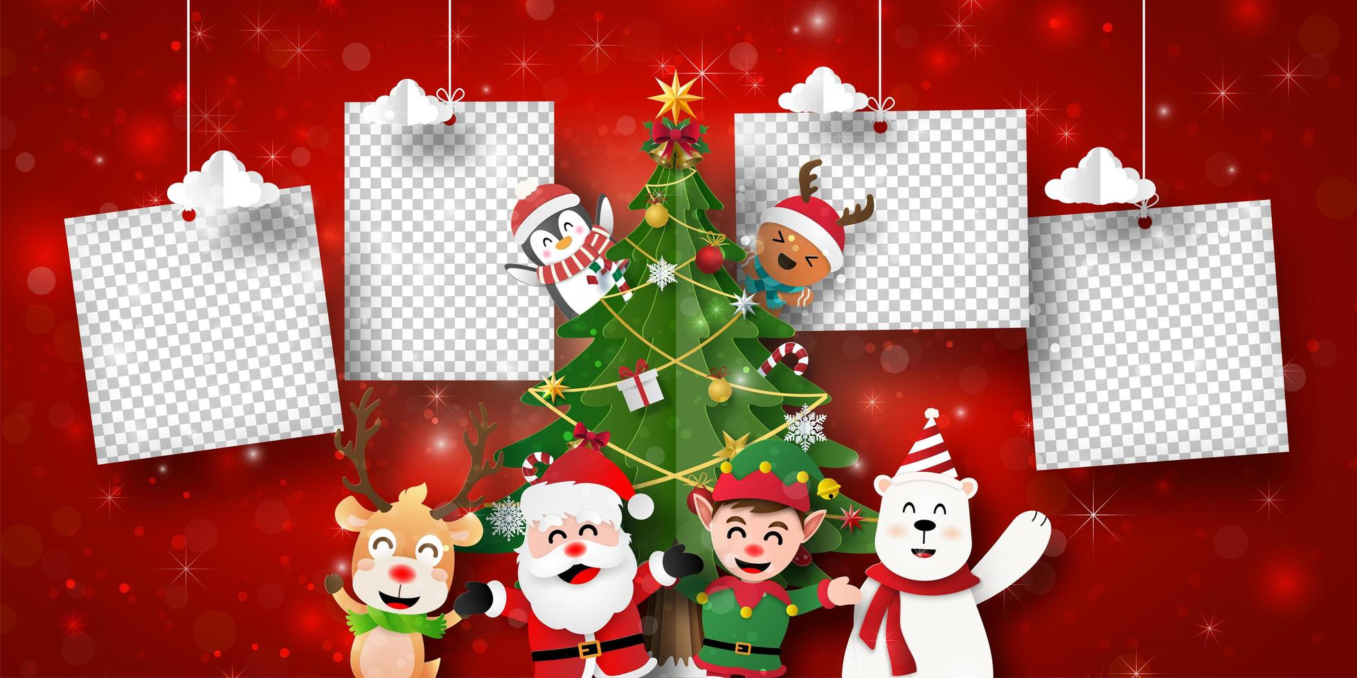 Christmas postcard banner of Santa Claus and friends with photo frames vector