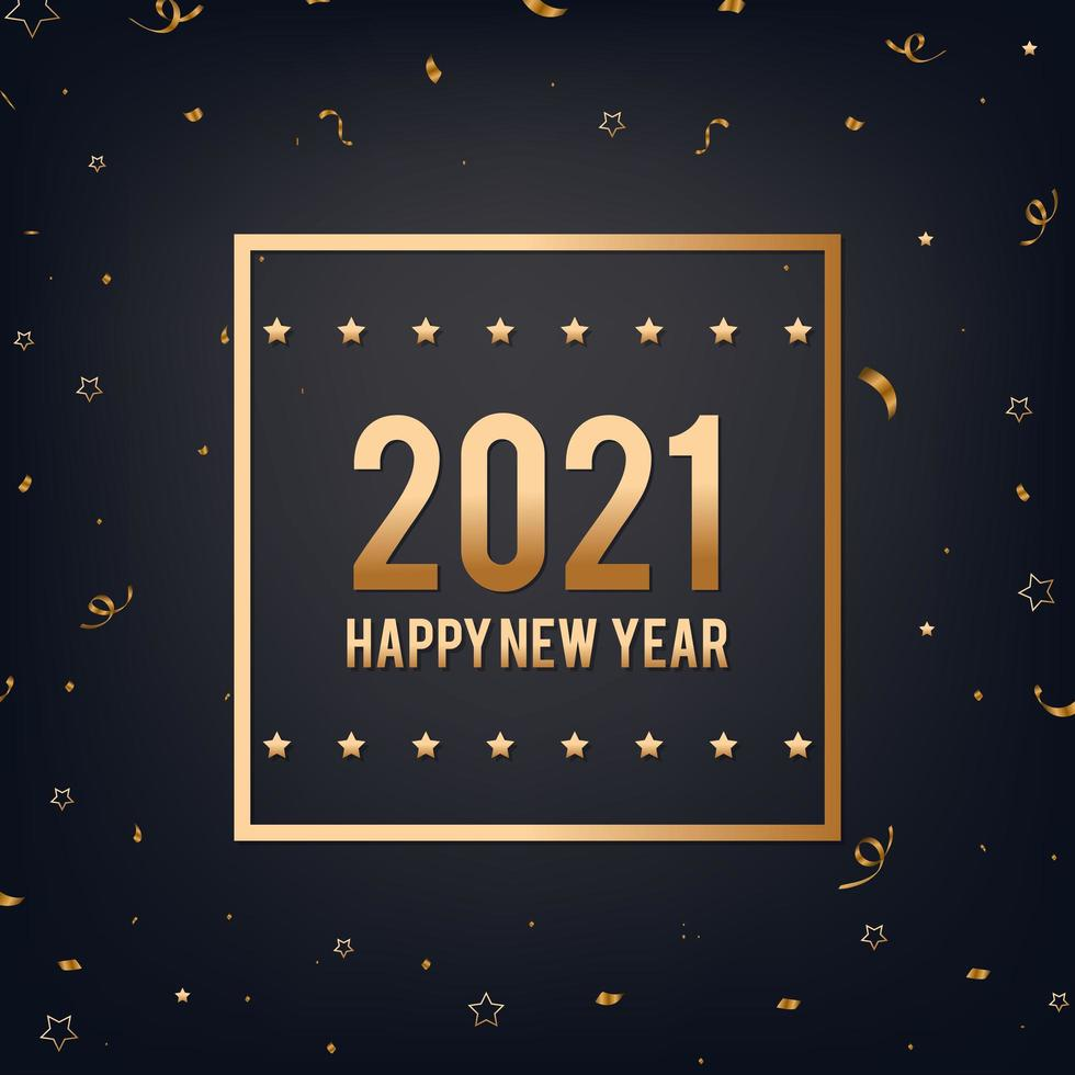 Happy New Year black and gold background vector