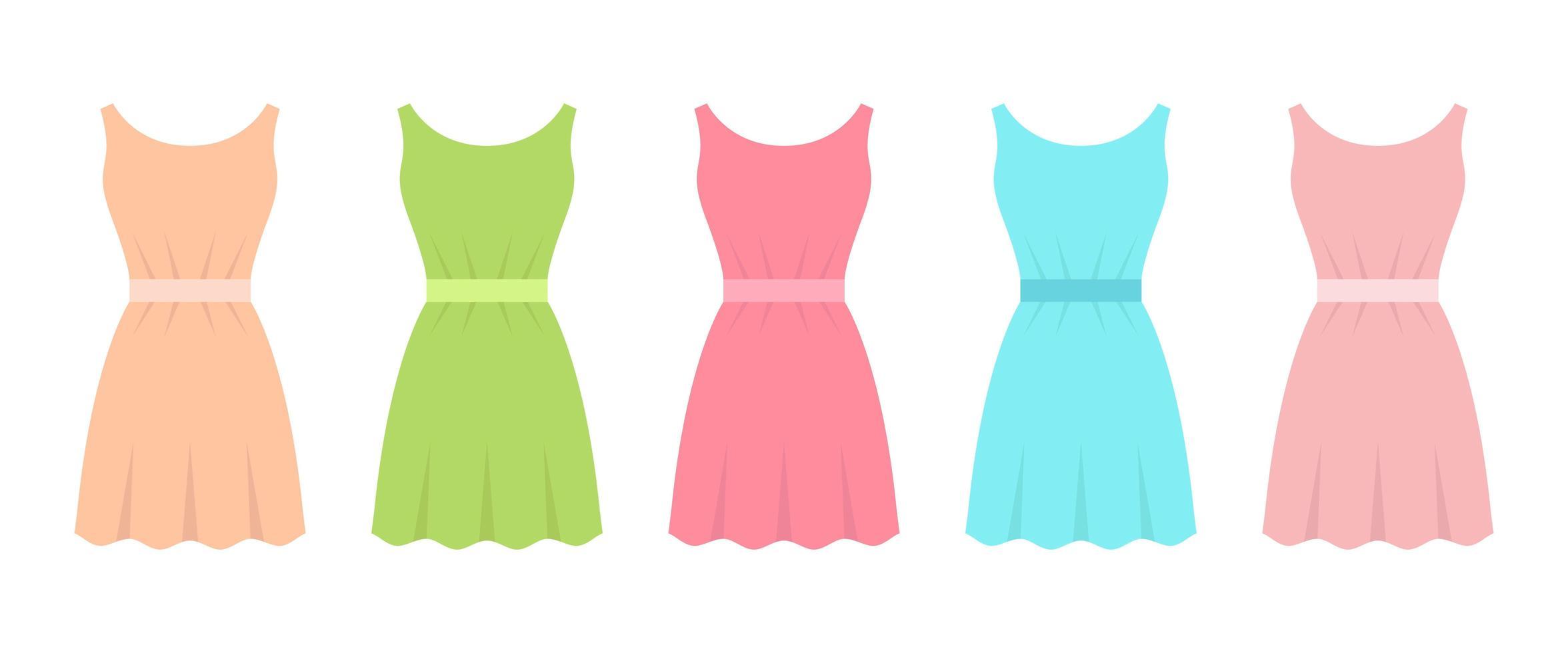 Dress in flat design vector design illustration isolated on white background