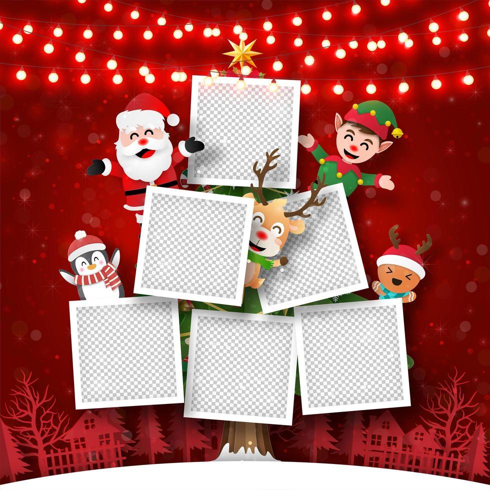 postal navideña de marco de fotos árbol de navidad con santa claus y amigos, estilo de arte en papel vector