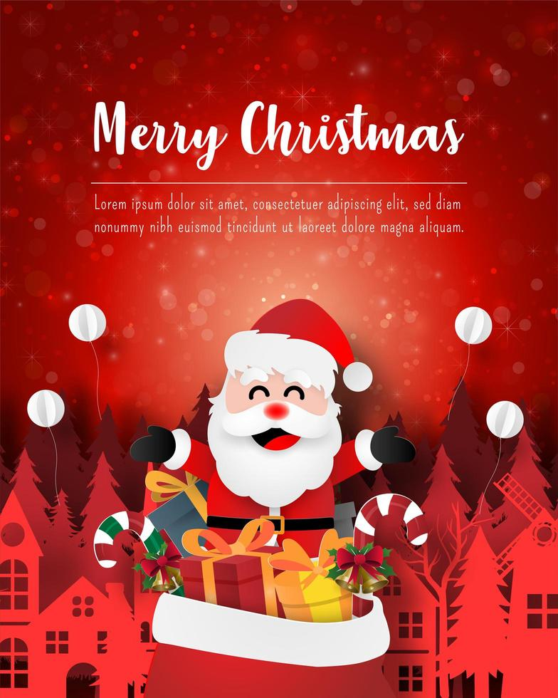 Merry Christmas and Happy New Year, Christmas postcard of Santa Claus with gift bag in town vector