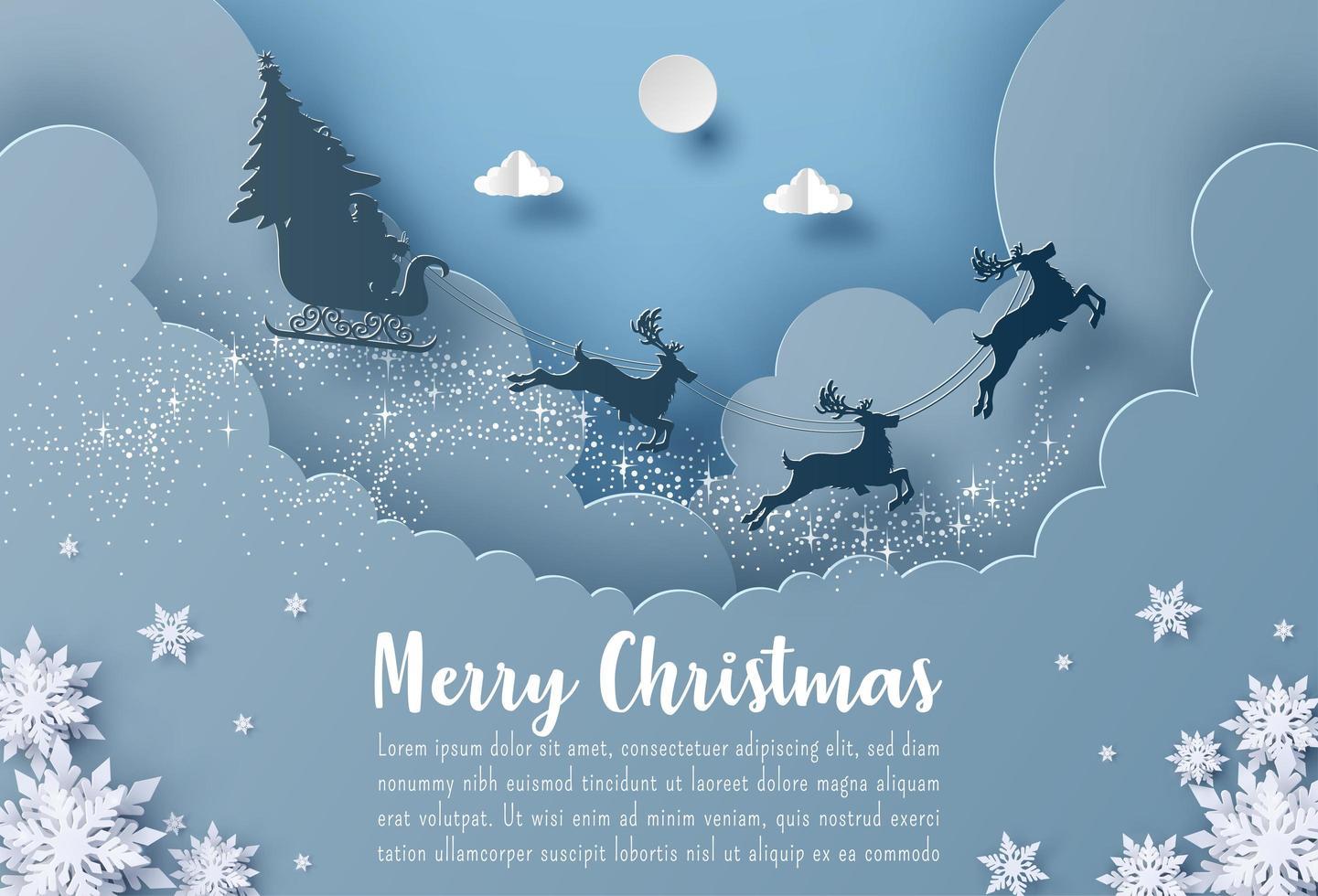 postal de navidad banner santa claus y renos volando en el cielo vector