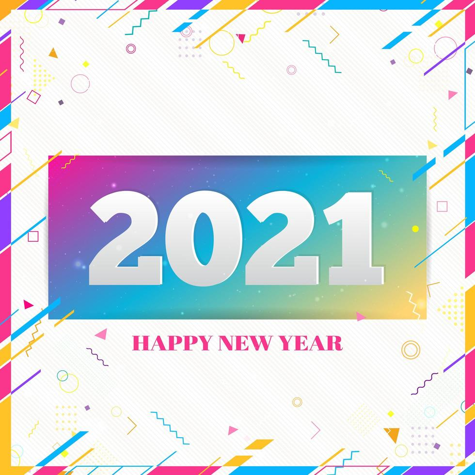 Creative Happy New Year 2021 design card on modern background vector