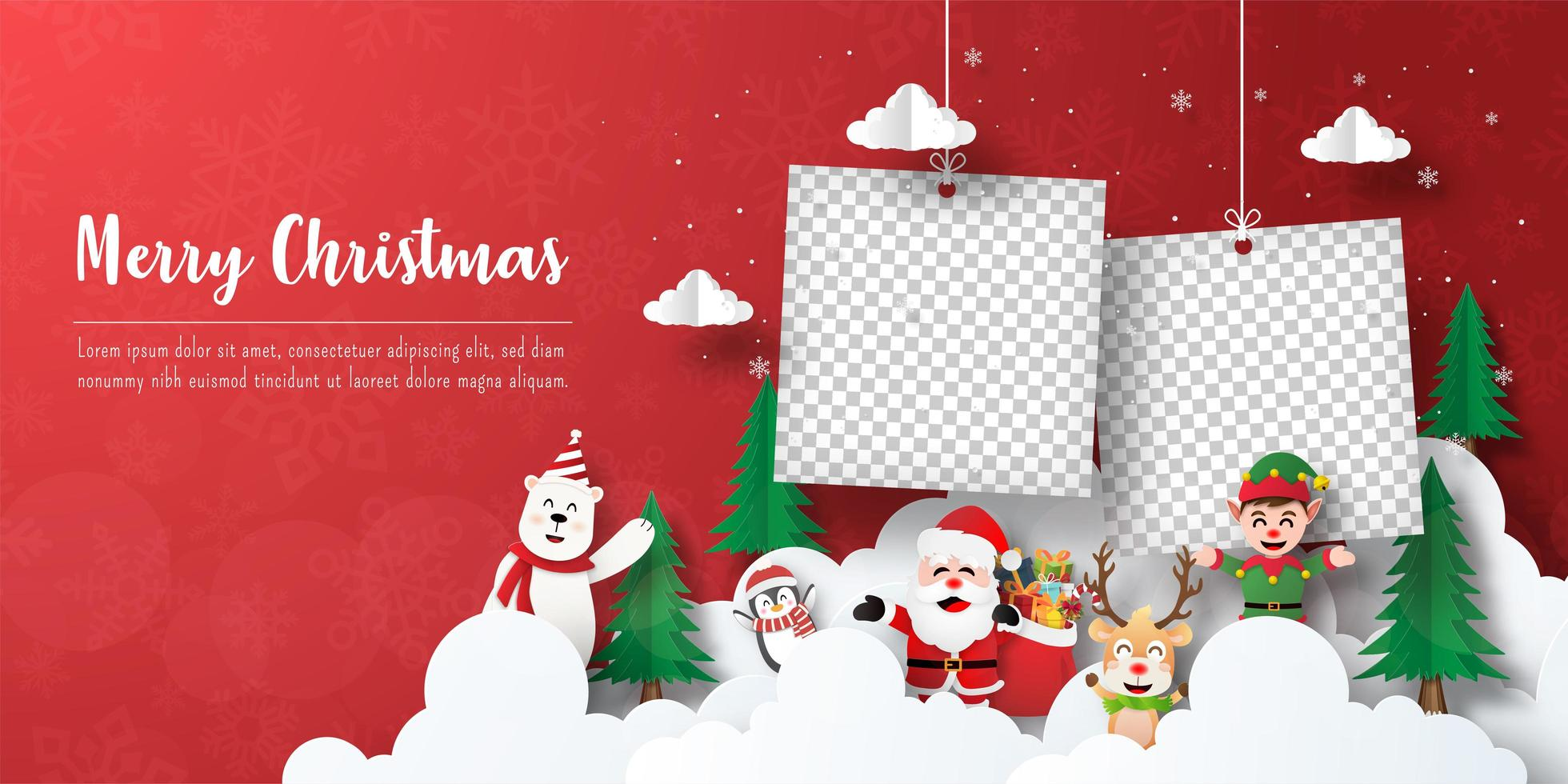 banner de postal navideña de marcos de fotos con santa claus y amigos vector