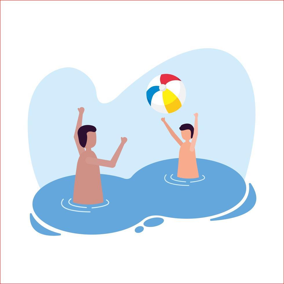 chicos con pelota en el diseño de vectores de piscina