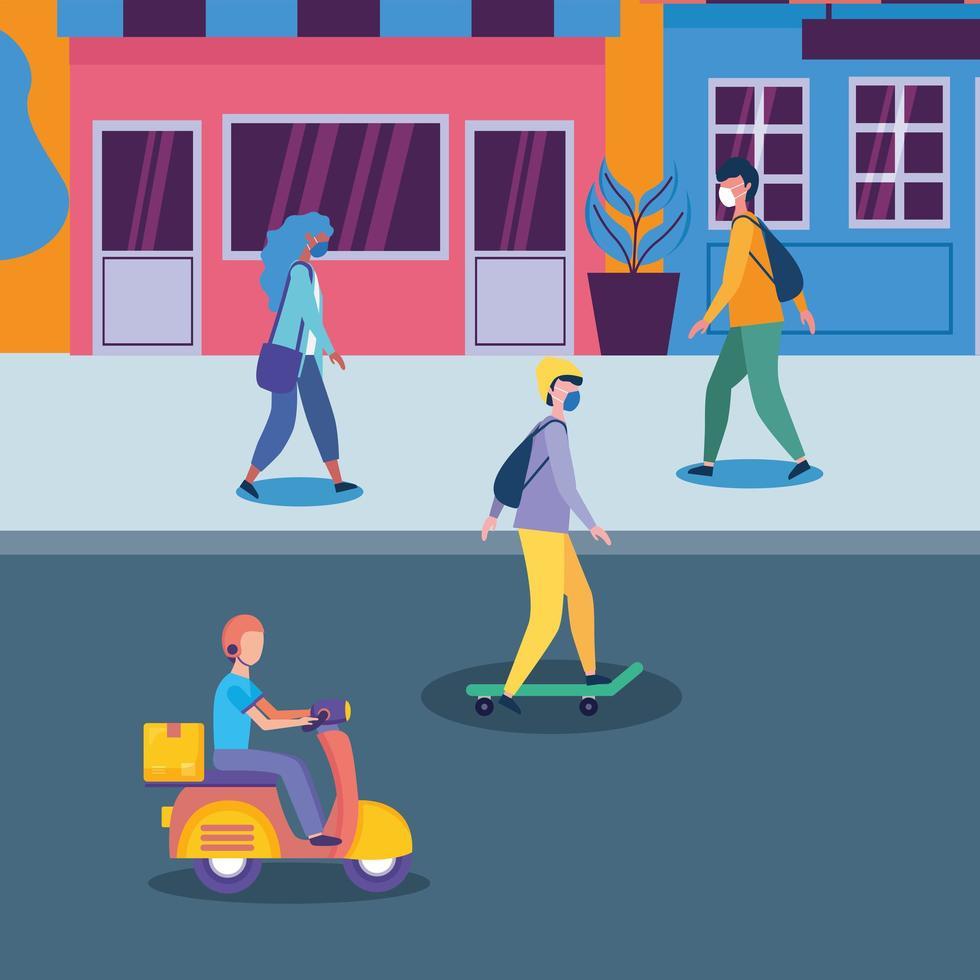 Personas con máscaras en la calle frente a tiendas de diseño vectorial vector