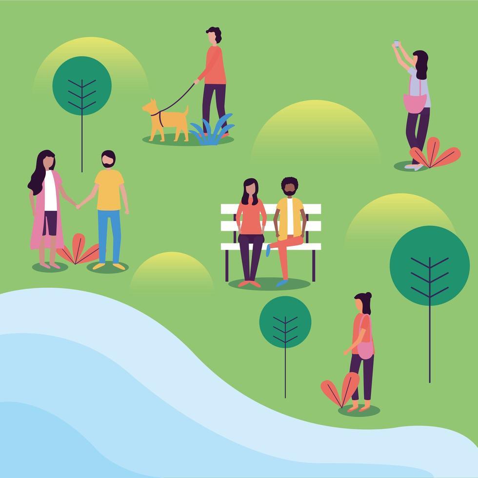 personas en el diseño del vector del parque