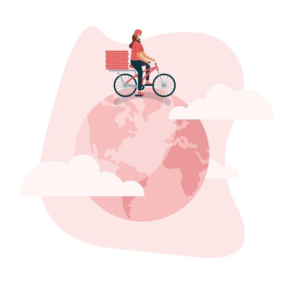 Mujer de entrega con bicicleta de máscara y cajas en diseño vectorial mundial vector