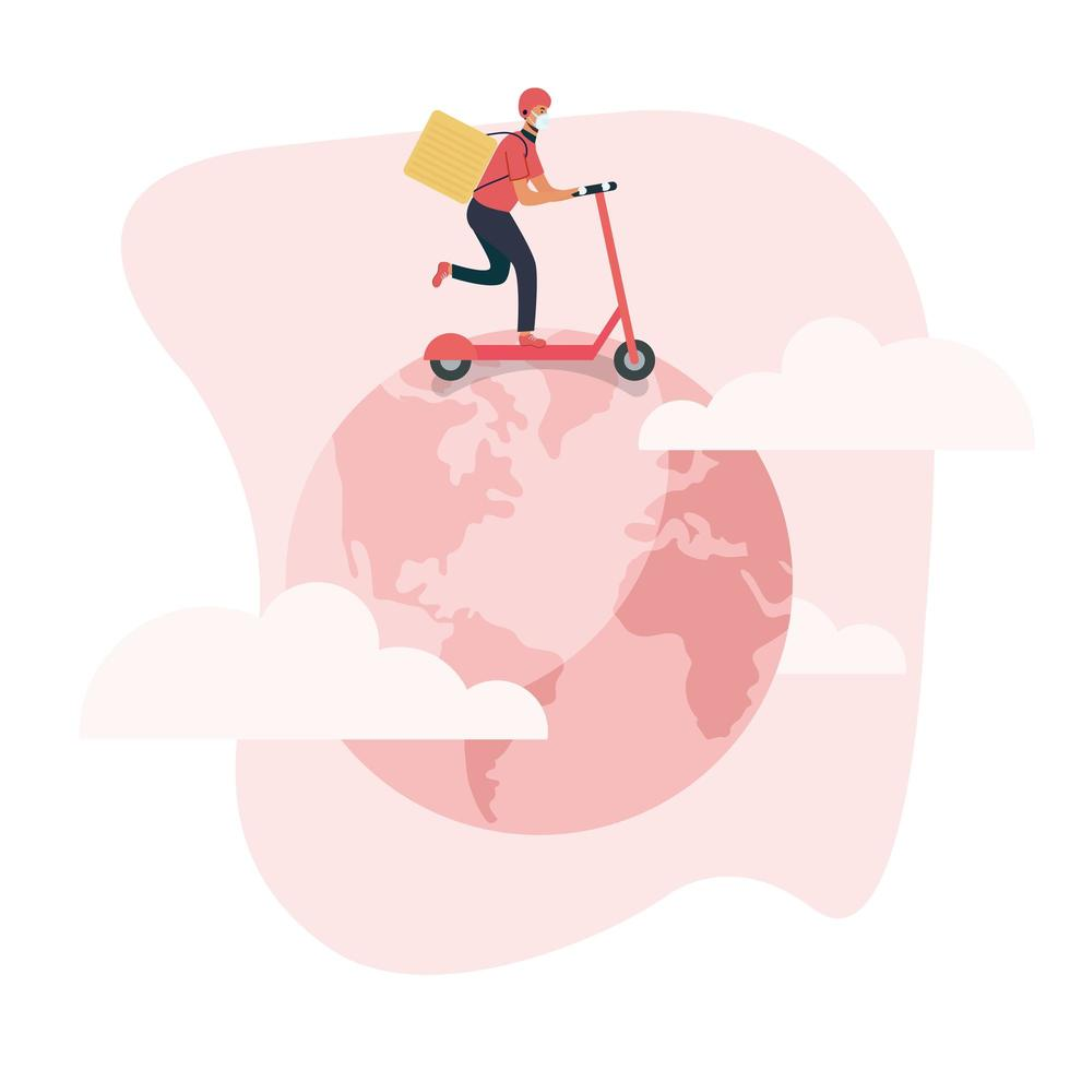 Delivery man with mask scooter and box on world vector design